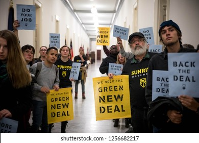 Washington, DC. USA. 12.10.18- Hundreds of young people occupy Representative offices to pressure the new Congress to support a committee for a Green New Deal.
