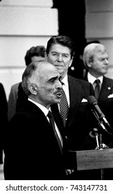 Washington, DC. USA, 13th February, 1984President Ronald Reagan with King Hussein II of Jordan deliver remarks at the South Portico of the White House at the conclusion of their meeting.