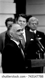 Washington, DC. USA 13th February, 1984President Ronald Reagan with King Hussein II deliver remarks of Jordan at the South Portico of the White House at the conclusion of their meeting.
