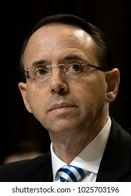 Washington DC, USA, 13th June,  2017.Deputy Attorney General Rod Rosenstein testifies at the Senate Subcommittee on Appropriations on the Justice Department's FY 2018 budget