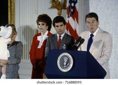 Washington DC. USA, 13th September, 1984 Ronald Reagan at ceremony of the opening of the National Center for Missing and Exploited Children.John Walsh and his family and Senator Paula Hawkins (R-FL)