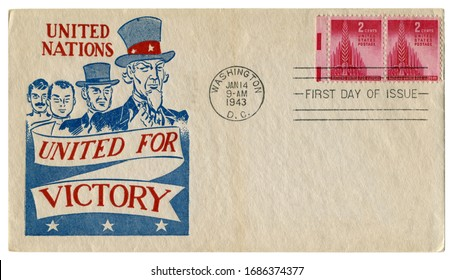 Washington, D.C., The USA - 14 January 1943: US historical envelope: cover with a patriotic cachet United nations, United for victory, Uncle Sam and other nationalities,