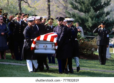 Washington, DC. USA, 14th April,  1981 Funeral serivces for General of the Army Omar Bradley. The General's casket is carried by the funeral detail to the gravesite.