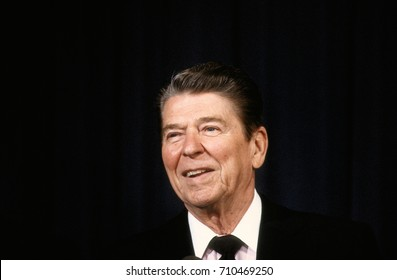 Washington, DC. USA, 16th April, 1986 President Ronald Reagan protrait