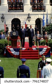 Washington DC., USA, 16th June,1992 President George H.W. Bush stands with President Mikhail Gorbachev during the welcoming ceremonies for the Russian President on the South Lawn of the White House.