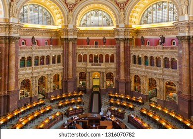 Washington DC, USA -  17 OCTOBER, 2013: The library of congress usa LOC. Main reading room at the Library of Congress