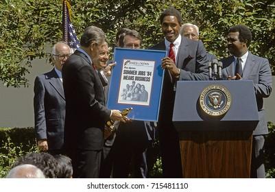 Washington DC. USA, 17th May, 1984President Ronald Reagan summer jobs program