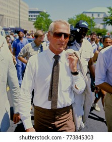 Washington, DC. USA, 1985 Actor Paul Newman marches at antiapartheid demo outside the State Department building in Washingon DC.