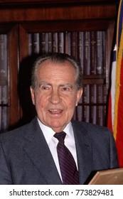 Washington, DC. USA. 1990 Former President Richard Milhous Nixon during visit to capital hill
