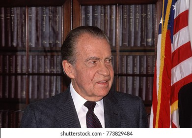 Washington, DC. USA. 1990 Former President Richard Milhous Nixon during visit to capital hill