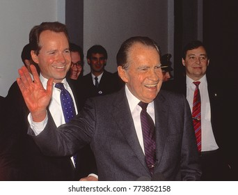 Washington, DC. USA, 1990 Former President Richard Milhous Nixon. Along with Congressman David Dreier (R) CA. who was escorting him around capital hill that day.