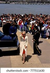 Washington, DC. USA, 1993Hillary Rodham Clinton Arrives at the Jefferson Memorial