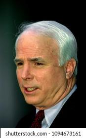 "Washington DC., USA, 1995Senator John McCain (R-AZ) talks with reporters outside the Fox News studios after his appearance on ""Fox News Sunday With Chris Wallace"" Talk Show."