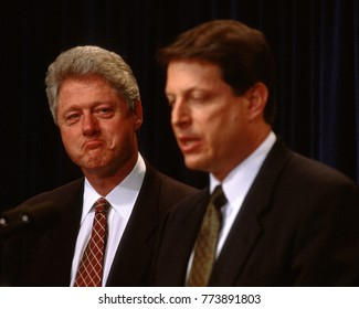 Washington, DC. USA, 1996 President William Jefferson Clinton and Vice President Albert Gore Jr. during news conference at the White House.
