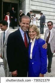 Washington, DC. USA, 1st June, 1987 Senator Joe Biden after announcing his candidacy for president Biden and his wife Dr.Jill Biden make an appearance outside the Dirkson Senate office building.
