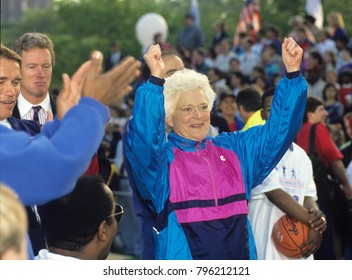 Washington DC., USA, 1st, May, 1992 First lady Barbara Bush at the Great American workout on the South Lawn of the White House.