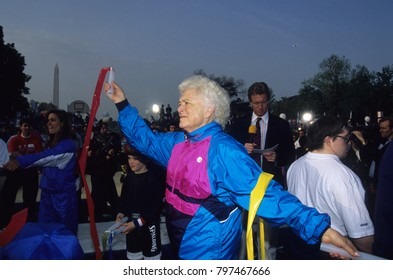 Washington DC., USA, 1st May, 1992 First lady Barbara Bush at the Great American workout on the South Lawn of the White House.