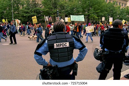 Washington, DC. USA, 20th April, 2002 Immigration rights protest march  in Washington DC.  DC police civil disobedience squad  line up ready for action during an immigration protest rally.