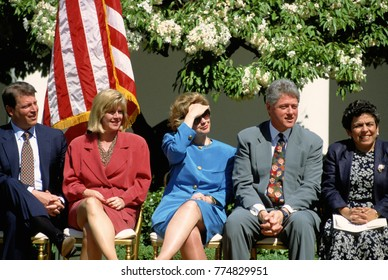 Washington, DC. USA, 20th April, 1994 VP Albert Gore Jr. his wife Tipper Gore, First Lady Hillary Rodham Clinton, President William Clinton amd HHS Secretary Donna Shalala at Rose Garden event