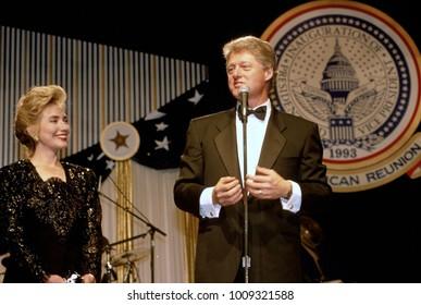 Washington DC, USA, 20th January, 1993 First Lady Hillary Rodham Clinton and President WIlliam Clinton one of many Inaugrual Balls