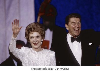 Washington DC. USA, 20th January, 1985President Ronald Reagan and First Lady Nancy Reagan at the Inaugural ball held at the Sheraton Washington Hotel,