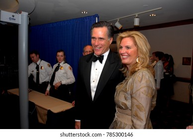 Washington DC. USA, 21th April, 2007 Governor Mitt Romney and his wife Ann  Davies arrive at the annual White House Correspondents dinner in the lower lobby of the Washington Hilton Hotel