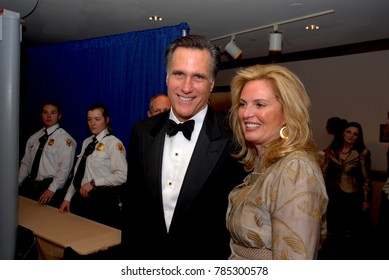 Washington DC. USA, 21th April, 2007 Governor Mitt Romney and his wife Ann  Davies arrive at the annual White House Correspondents dinner.