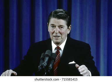 Washington DC. USA, 22nd February, 1984President Ronald Reagan's 22nd news conference takes place n the East Room of the White House