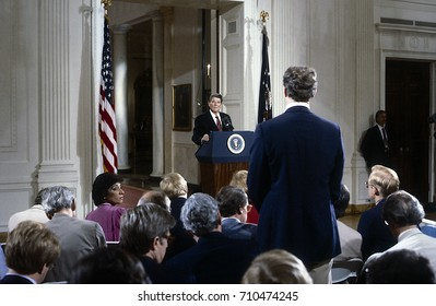 Washington DC. USA, 22nd, May, 1984President Ronald Reagan holds his 24th news conference in the East Room of the White House