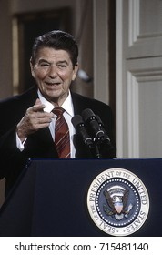 Washington DC. USA, 22nd May, 1984President Ronald Reagan during his news conference President Ronald Reagan points to reporter who gets the next question.