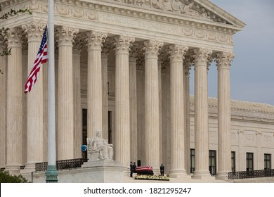 Washington, DC, USA - 24 September 2020: Casket of Justice Ruth Bader Ginsburg, who is lying in repose at the Stairs of the U.S. Supreme Court