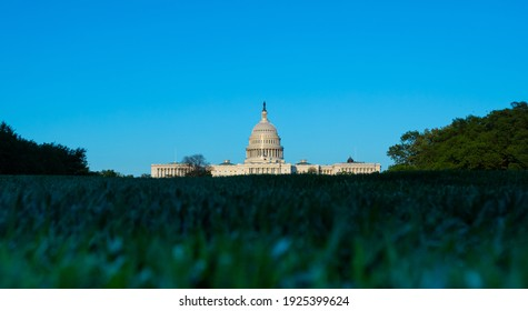Washington, DC, USA - 27 April 2020: Low-Angle View of the United States Capitol Building with blurred Grass in Foreground - Copy Space