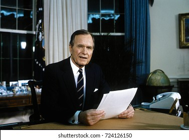 Washington DC. USA, 27th February, 1991 President George H.W. Bush gives address to the nation from the Oval Office on the suspension of allied offensive combat operations in the Persian Gulf War