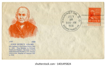 Washington D.C., The USA  - 28 July 1938: US historical envelope: cover with cachet portrait of 6th President John Quincy Adams, orange postage stamp 1825 - 1829, six cents
