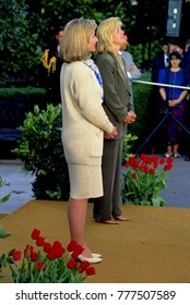 Washington DC. USA, 29th April, 1993Hillary Rodham Clinton and Tipper Gore make remarks at the reception for the President Health Care Task Force in the driveway of the South Lawn of the White House