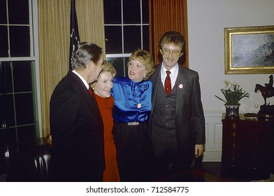 Washington DC. USA, 29th January1984 President Ronald Reagan with his wife Nancy and daughter Maureen and son-in-law Dennis Revell after he made his announcement for re-election from  the Oval Office