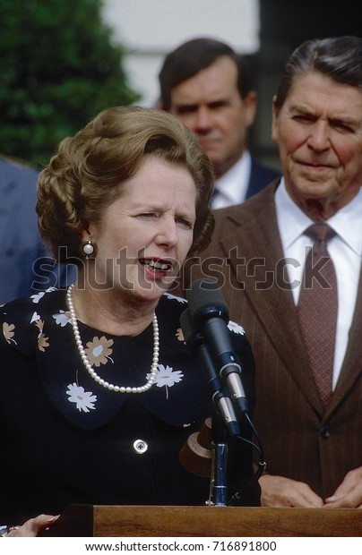 Washington DC. USA, 29th September, 1983 British Prime Minister Margaret Thatcher and President Ronald Reagan speak at The South Portico of the White House after their meetings in the Oval Office.