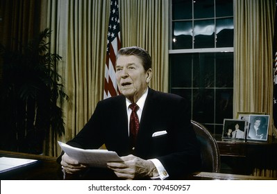 Washington. DC. USA, 2nd February, 1988 President Ronald Reagan delivers television speech to the nation about providing aid to the Nicaraguan Contras.