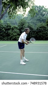 Washington DC. USA, 2nd July, 1991President George H.W. Bush plays doubles tennis with South Korean President Roh Tae Woo, during President Woo's state visit to the White House.