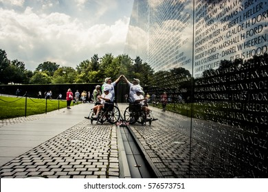 Washington D.C., USA - 31 August, 2009: Vietnam War memorial with the names of fallen soldiers engraved into stone