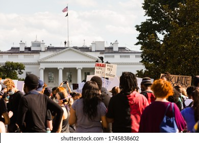 Washington, DC, USA - 31 May 2020: Protesters in Front of the White House in a Demonstration over the Death of George Floyd, a black Man who died during a Police Arrest
