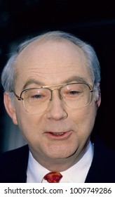 "Washington DC. USA, 31st December, 1995 Senator Phil Gramm from Texas talks with reporters outside the ABC studios after his appearance on the Sunday morning talk show ""This Week with David Brinkley"