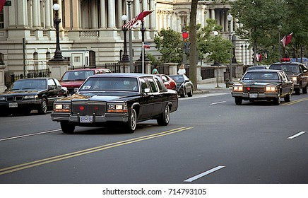 Washington DC. USA, 31th May, 1990 President Mikhail Sergeyevich Gorbachev motorcade as he rides from the Russian Embassy the White House for summit meetings with President George H.W. Bush.