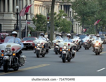 Washington DC. USA, 31th May, 1990 Washington Metropolitan DC Police along with US. Park Police motorcycles provide escorts for Russian President Mikhail Sergeyevich Gorbachev motorcade