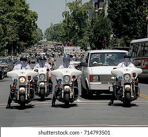 Washington DC. USA, 31th May, 1990 Washington Metropolitan DC Police along with US. Park Police motorcycles provide escorts for Russian President Mikhail Sergeyevich Gorbachev motorcade