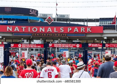 Washington D.C, USA - 4 July 2017: The fans walking into an early morning baseball game between the Nationals and the Met's on the fourth of July 2017