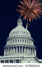 Washington, DC. USA, 4th July, Fireworks light up the skies over the US Capitol