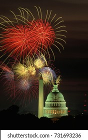 Washington, DC. USA, 4th July, 1993Fireworks light up the skies over the US Capitol and the Washington Monument.
