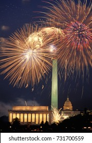 Washington, DC. USA, 4th July, 1989 Fireworks over DC. Annual display put on by the Park Service looking east at the Lincoln Memorial and the Washington Monument with the US Capitol in the background