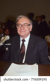 Washington DC. USA, 4th September,  1991 Warren Buffet testifies before the House finance subcommittee on the Salomon brothers scandal in which he took over as chairman of the board of the company